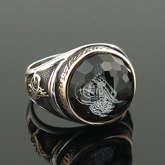 925 Sterling Silver Ottoman Ring for Men with by KaraJewelsTurkey