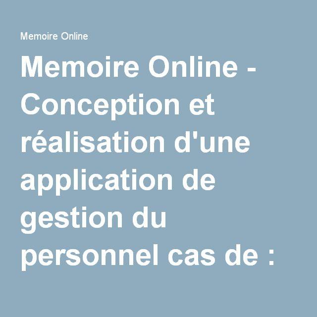 Memoire Online - Conception et réalisation d'une application de gestion du personnel cas de : CONGELCAM S. A. - Patrick-Aimé TEMBERE NDEBEGHO