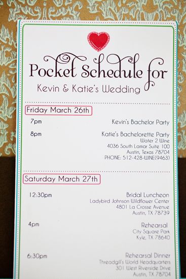 Pocket Schedule with all the vital addresses and times.  Great idea for visiting family and Bridal Party!!