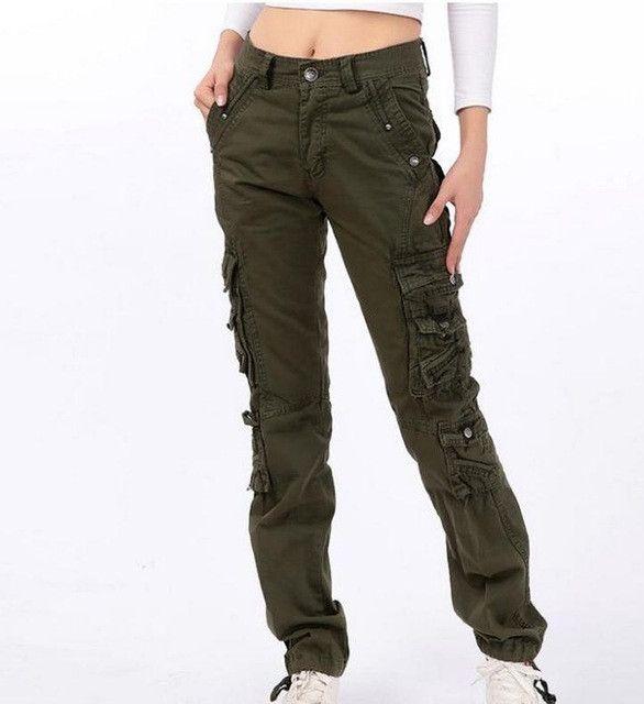 Women's cotton Cargo Pants Leisure Trousers Pocket pants