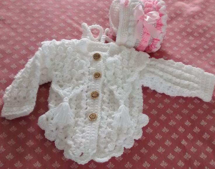 A crochet cardigan & hat I crocheted