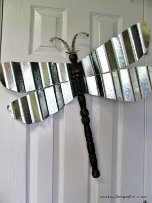 Table Leg Dragonflies...  wing shapes out of a sheet of corrugated metal using tin snips