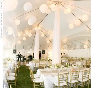 instead of a tent liner use paper lanterns; a great look for less money