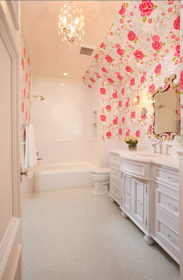 Images Of Eijffinger Pip wallpaper in a beautiful bathroom Hamptons in the Country by Brewster