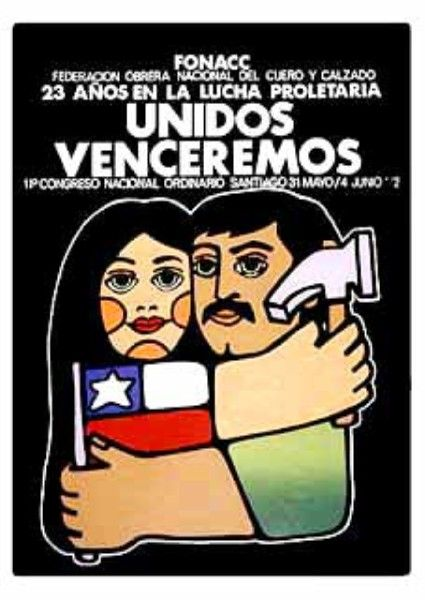 La historia de un pueblo en los muros de Chile CARTEL DE Federación obrera nacional del Cuero y Calzado.
