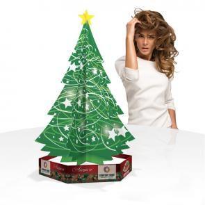Albero natalizio da banco in cartone micoonda la base può essere usata come porta prodotti