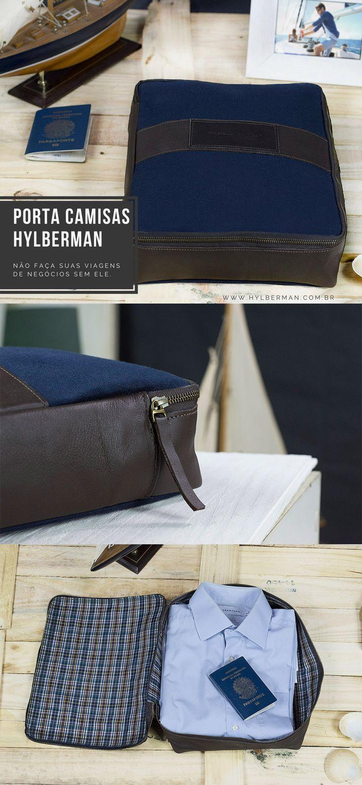 Porta camisas da Hylberman. Para o homem que vai longe, mas vai elegante. #hylberman #portacamisa #couro #lona #homemmoda