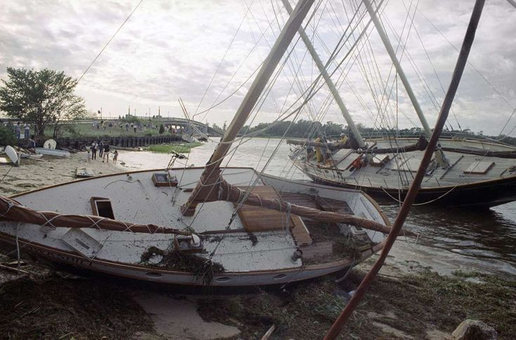 1991 - Hurricane Bob Dates active: August 16 - 20 Peak classification: Category 3 Sustained wind speed: 115 mph (185 km/h) Areas affected: United States East Coast, Canada Deaths: 17 Damage: $1.5 billion (Pictured) Two sailboats lie side-by-side on the beach on Aug. 19, 1991, after they were washed ashore by the storm surge of Hurricane Bob in Sag Harbor, New York.