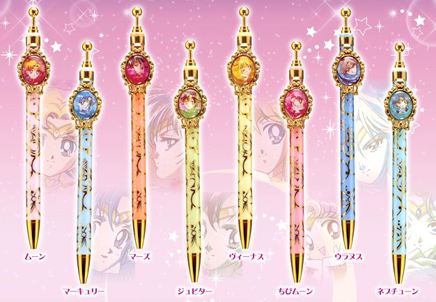 Official Sailor Moon Pens and Pencils! Shopping links here http://www.moonkitty.net/reviews-buy-sailor-moon-stationary-books-bags.php #SailorMoon #SailorMoonCrystal
