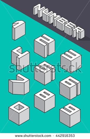 Set of the isometric numbers. Vector illustration