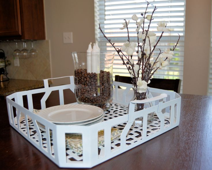 Kitchen Table Staging Ideas Brighten Your With A Diy Spray Painted Metal Tray