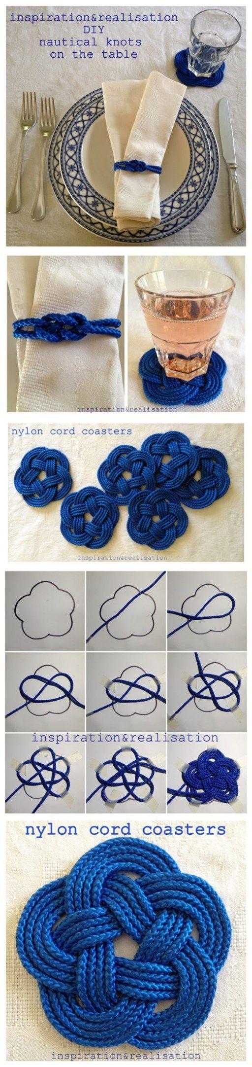 DIY Nautical Nylon Cord Knot Coasters Tutorial | DIY Tag