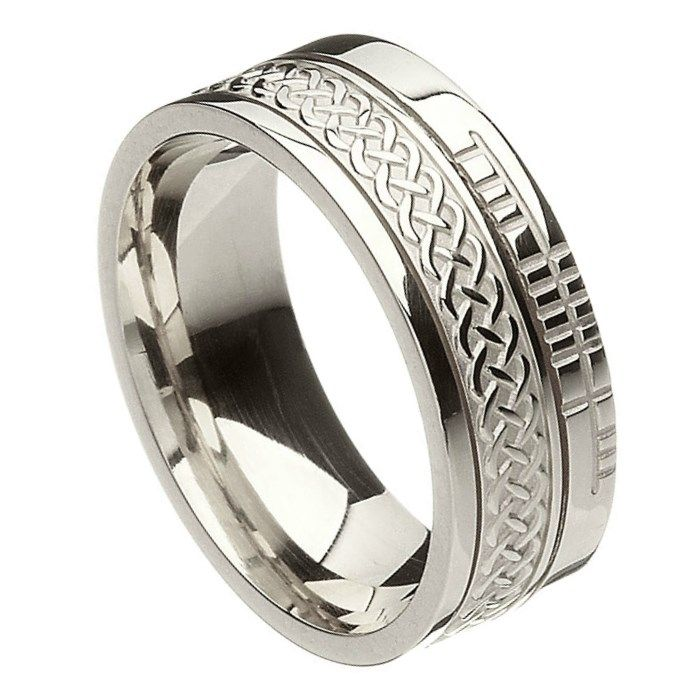 Comfort Fit Celtic Knot Faith White Gold Band - Rings from Ireland