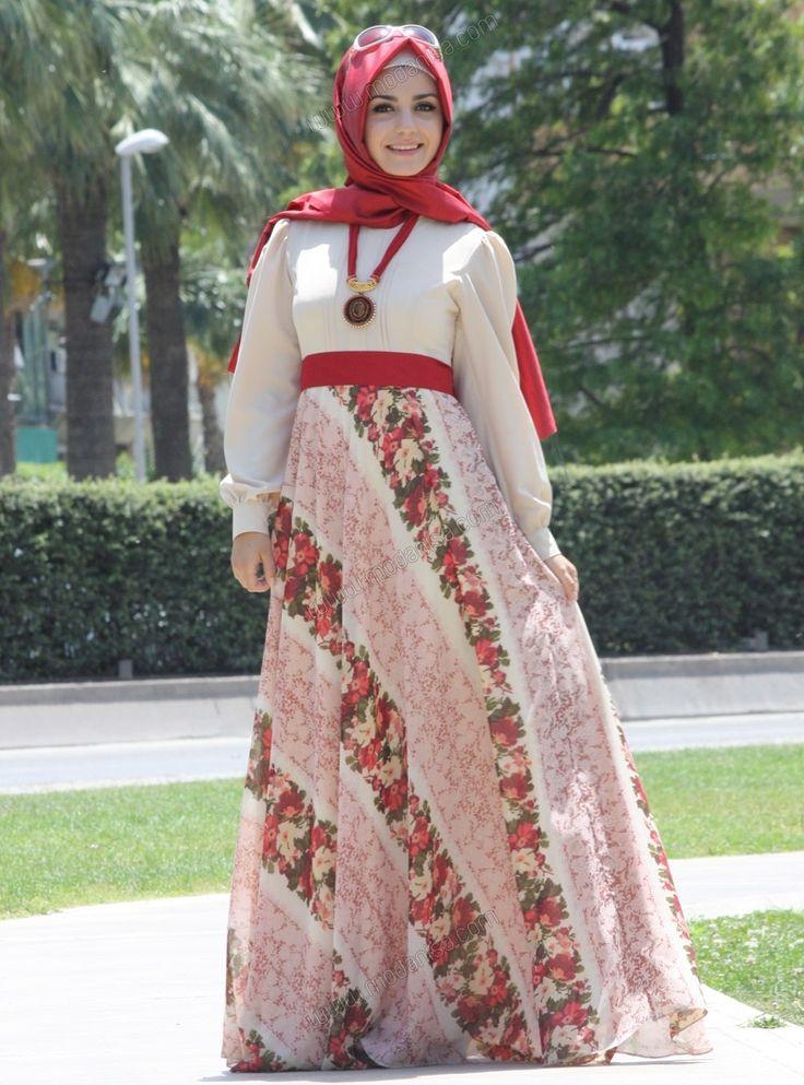 Altı Desenli Şifon Elbise 1102 - Pudra - Pınar Şems