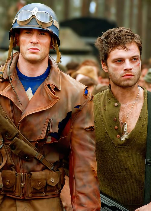 Steve and Bucky.  Oh Sebastian Stan, Captain America: Winter Soldier cannot come fast enough...