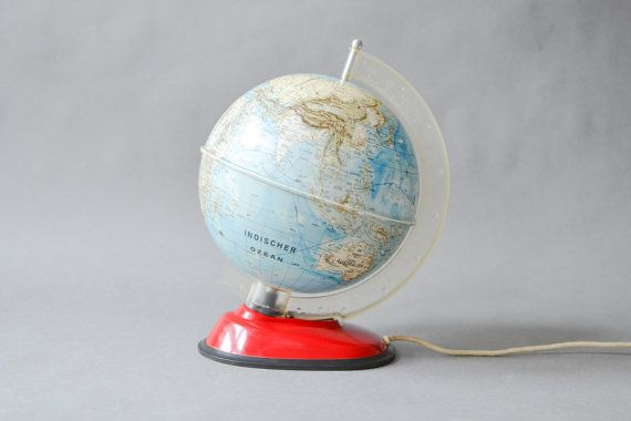 Vintage German world globe illuminated globe light lamp 60s West German geography Mid-Century modern home decor