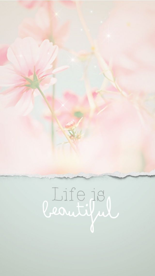 Grey pink Pastel floral Life is beautiful quote iphone wallpaper background phone lock screen