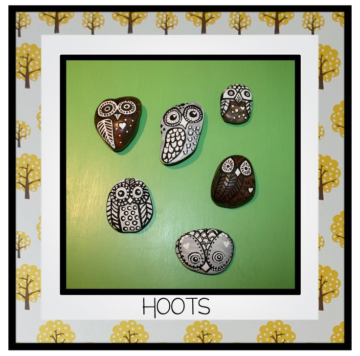 Hoots.  Hand painted river stone owls.