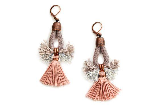 Tassel Earrings, Hippie Earrings, Bohemian Chandeliers, Statement Earrings, Folk Earrings, Rose Earrings