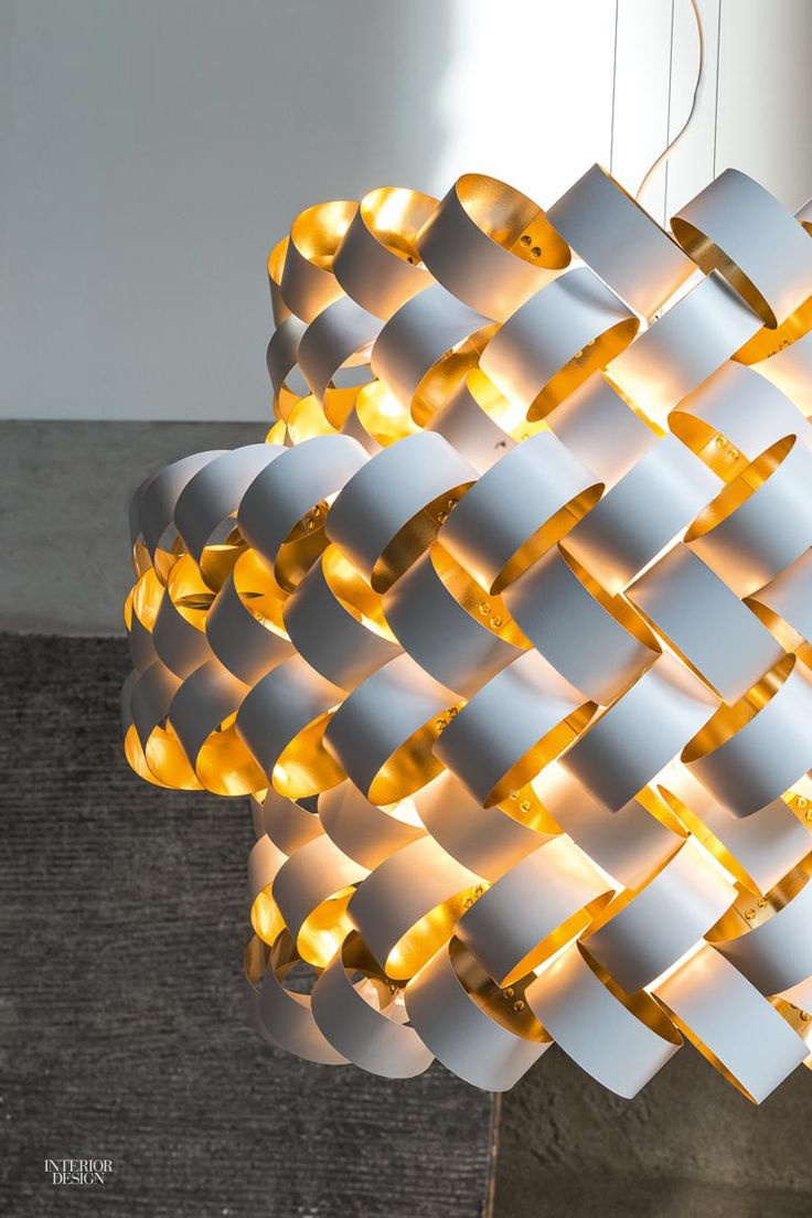 Five X Pivot LED light fixture in 3form Varia ecoresin by LightArt. Langhorne 2 pendant with woven nylon diffuser over ...