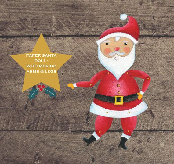 Printable Paper Santa Doll with moving arms and by louandboo