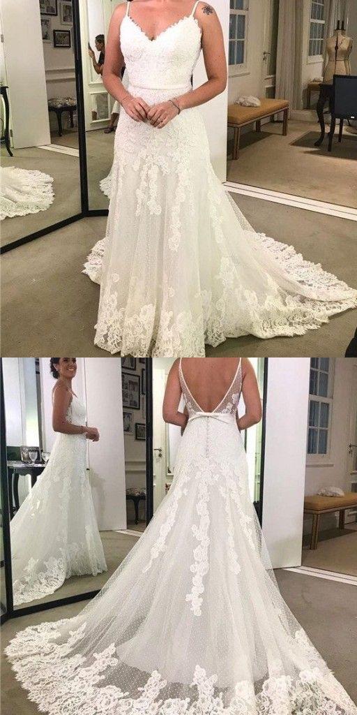 Schlichte Hochzeitskleider Weiß Spitze Brautkleider ...