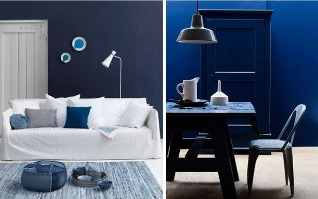 id e d co avec bleu marine salon salle manger peinture mur nouvel appart pinterest d co. Black Bedroom Furniture Sets. Home Design Ideas