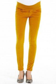 Jegging grossesse skinny en velours jaune taille basse JP0043