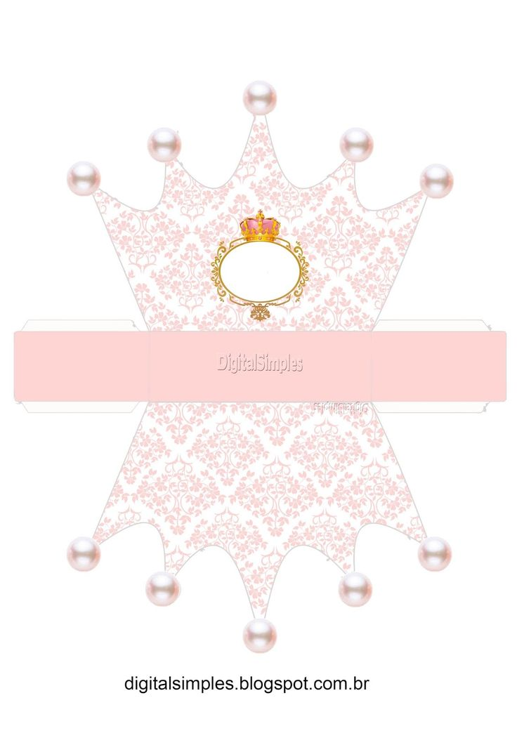 Pink and Gold Crown: Free Printable Crown Box.