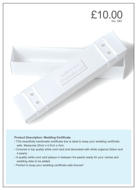 Wedding Certificate Box - personalise this pretty box to keep your wedding certificate safe