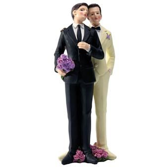 Cette figurine représentant deux jeunes hommes, tout juste mariés ! Parfait  pour décorer votre table d'honneur, vos gâteaux...