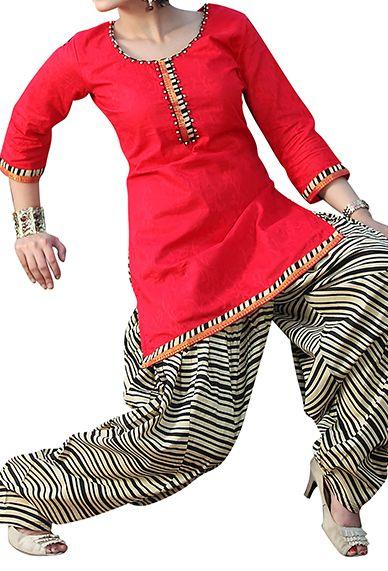 Red Cotton Patiala Salwar Kameez #Indian #Patiala #Salwar #Kameez