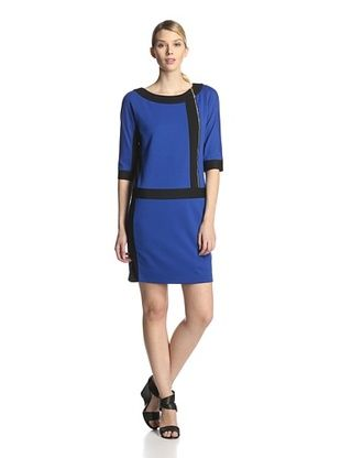 67% OFF Ellen Tracy Women's Colorblock Ponte Dress (Cobalt/Black)