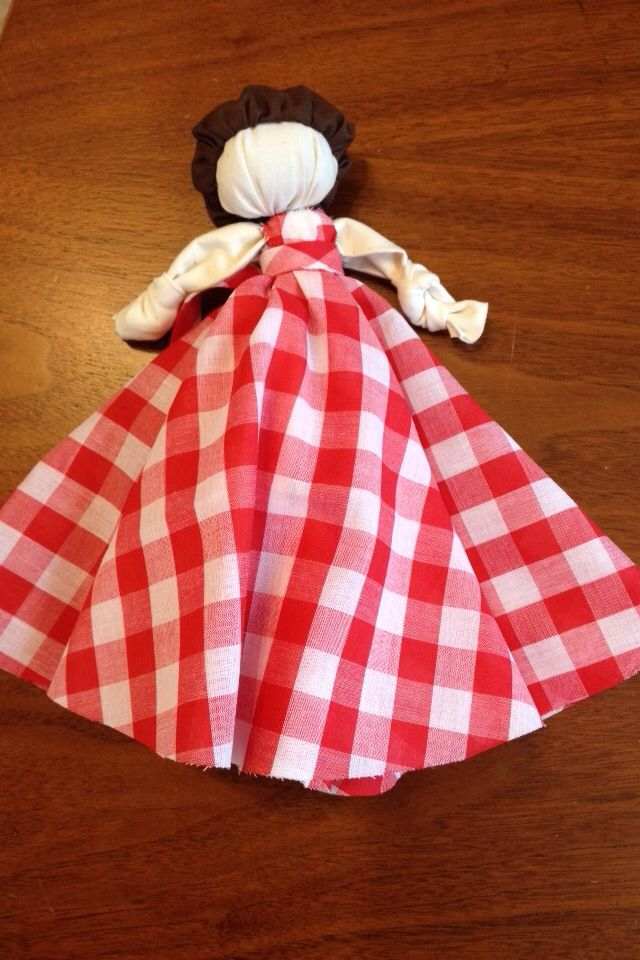 "Knot doll, the dress is a 15"" circle with a dime size hole for the neck. Sash is a bias strip."