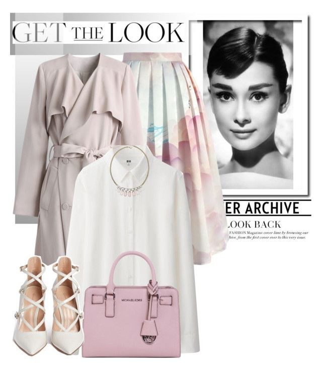 """Get the Look: Balloon Skirt"" by glamorous09 ❤ liked on Polyvore featuring Chicwish, Uniqlo, MICHAEL Michael Kors, Gianvito Rossi, Decree, women's clothing, women, female, woman and misses"