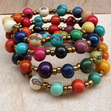 Every Color Beaded Bracelet, natural acai nuts from the Amazon rainforest. $35.00 http://www.artisansintheandes.com/beaded-bracelets-leather-ladies/beaded-bracelets-multi-acai-nut