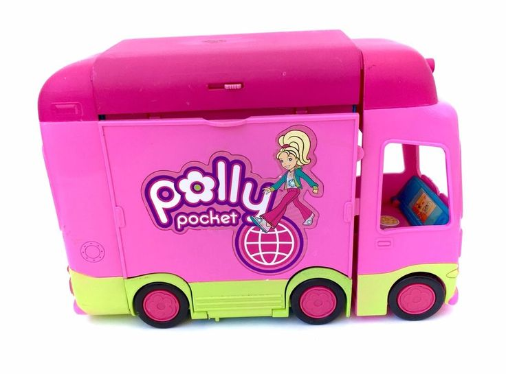 Polly Pocket Camper Van RV Tour Bus Compact www.CuteVintageToys.com 💖 Hundreds Of  Vintage Toys From The 80s & 90s! Follow Me & Use The Coupon Code PINTEREST For 10% Off Your ENTIRE Order! 💌 Dozens of G1 My Little Ponies, Polly Pockets, Popples, Strawberry Shortcake, Care Bears, Rainbow Brite, Moondreamers, Keypers, Disney, Fisher Price, MOTU, She-Ra Cabbage Patch Kids, Dolls, Blues Clus, Barney, Teletubbies, ET, Barbie, Sanrio, Muppets, Sesame Street, & Fairy Kei Cuteness!💖