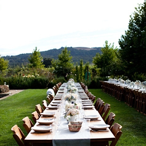 Long Wood Table Reception Decor