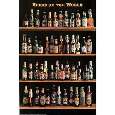 BEERS-OF-THE-WORLD-POSTER-24x36-BAR-STYLES-TYPES-VARIETY-BOTTLES-3250