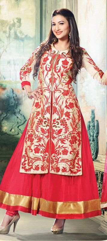 167554, Long Lehenga Choli, Silk, Net, Machine Embroidery, Sequence, Stone, Patch, Pink and Majenta Color Family
