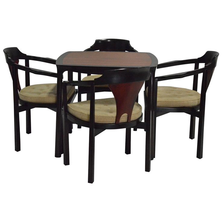 Signed Edward Wormley For Dunbar Game Table With Chairs