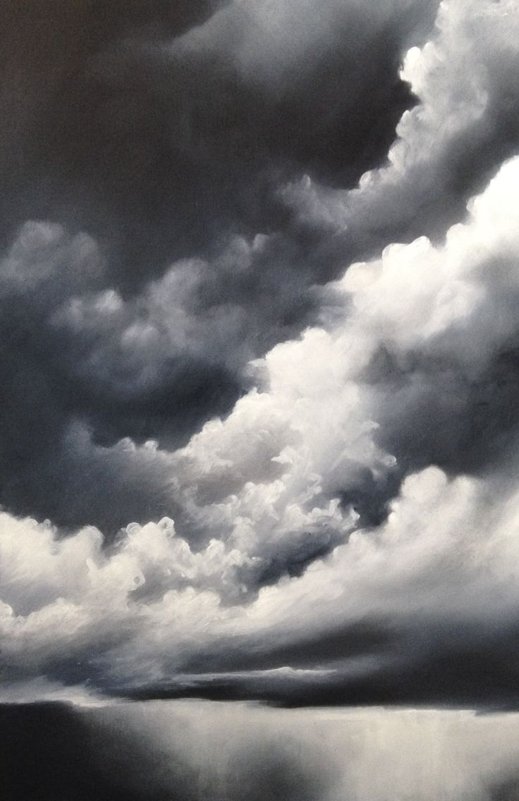 The lights and shadows in clouds are often dramatic, this painting attempts to capture the drama using the contrasting tones.