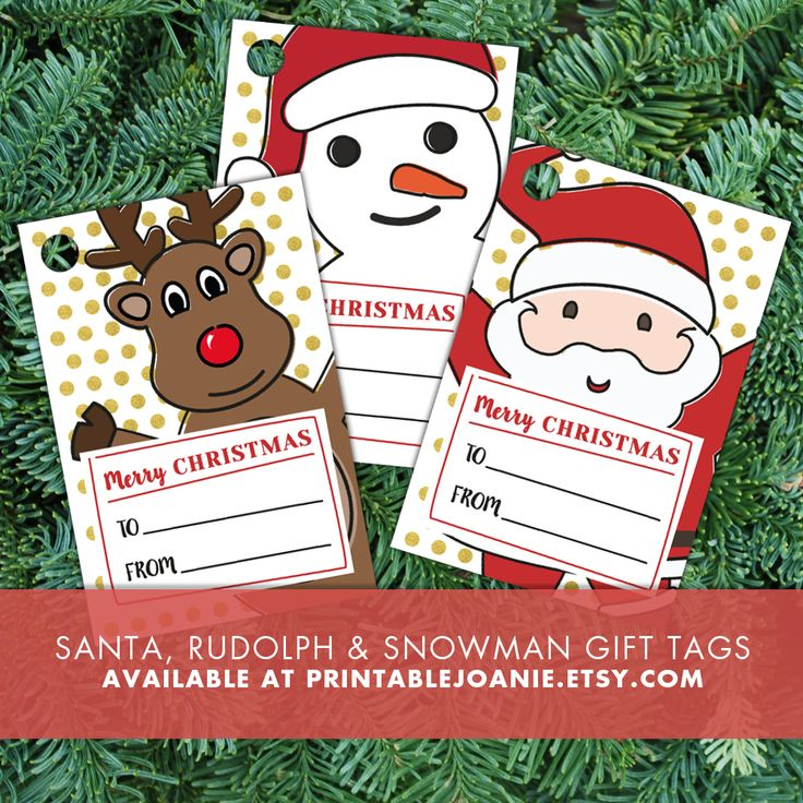 Christmas Gift Tags - Santa Claus, Rudolph, Snowman - Print these fun Christmas characters gift tags, hole punch them and use a cute little string or ribbon to attach them to your presents!