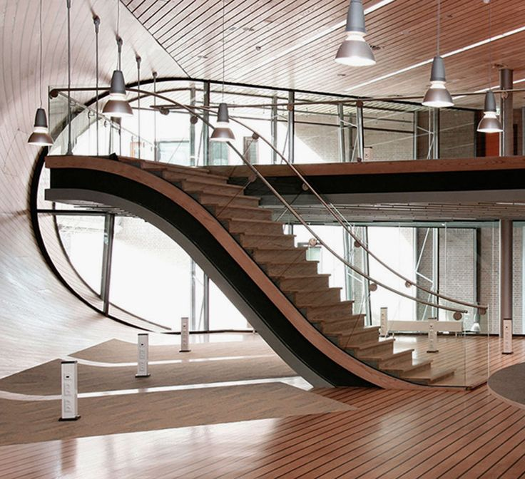 Best Modern Staircase Design With Chrome Handrails Curve 400 x 300