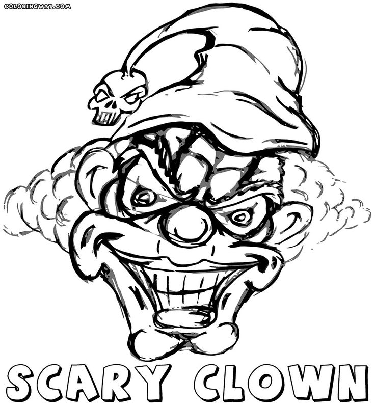scary clown coloring pages in 2020 Scary clown face
