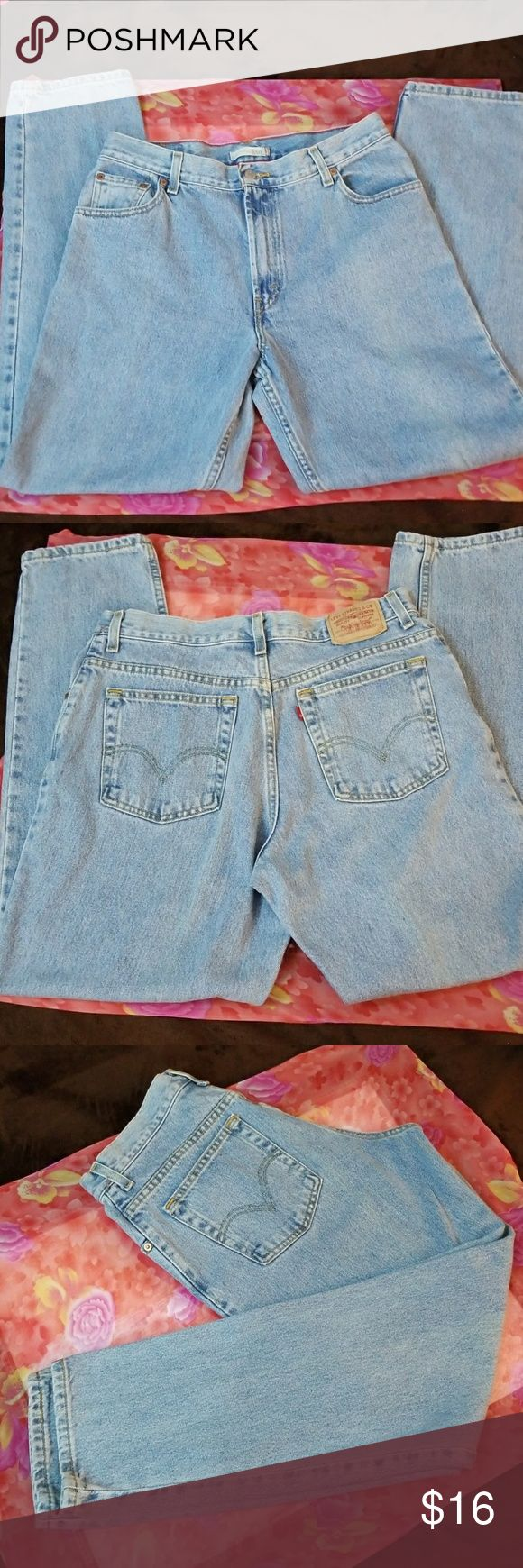 ♀️Levi's 550  Jeans♀️ Light Wash Blue Denim Relaxed Tapered Levi's 550 Jeans. Actual Measurements: Waist 32, Inseam 30, Hips 44, Knee 19, Leg Opening 14, Outseam 41, Front Rise 12, Back Rise 15.5. Levi's Jeans