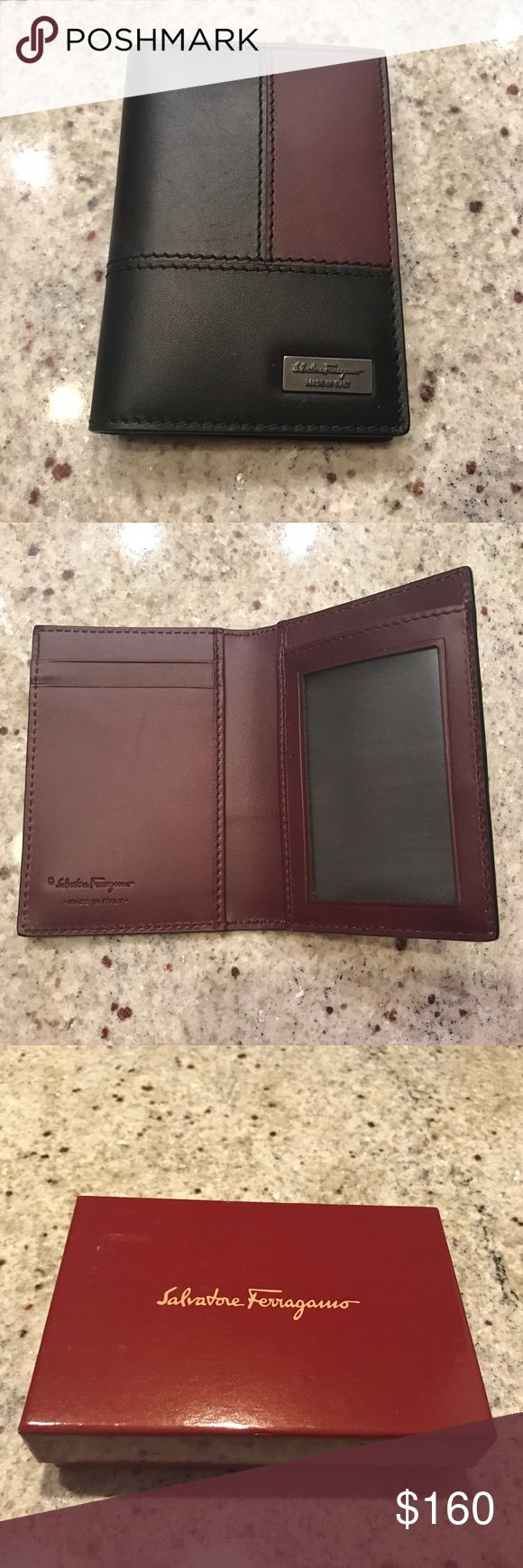 Ferragamo Tris Color Block Card Case Color block leather card case with gunmetal plaque logo. Two vertical card slots on left interior and transparent card slot on right side. Brand new in original box. Ferragamo Accessories Key & Card Holders