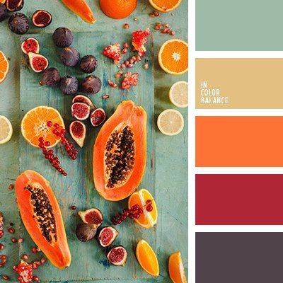 Beautiful bold red, orange, green, yellow and purple color scheme.