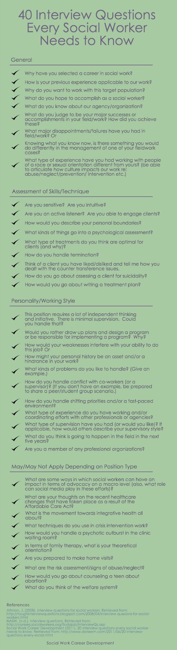 an earlier post had provided you with 20 questions every social worker needs to know for the interview preparation process however since then some - Social Work Interview Questions For Social Workers