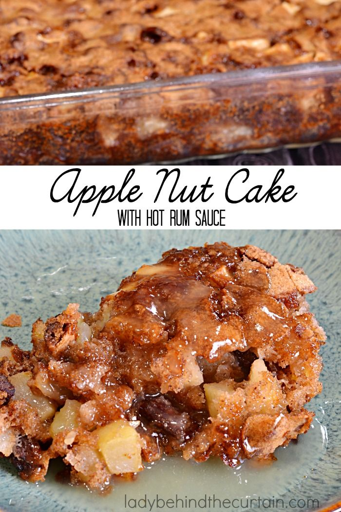 Apple Nut Cake with Hot Rum Sauce | Celebrate Fall with this delicious cake!  Bringing flavors together like apples, pecans, and an assortment of spices is all you'll need to satisfy your comfort food cravings.